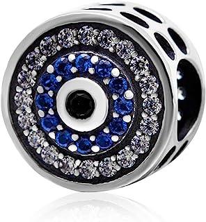 Blue Crystal Evil Eye Charm 925 Sterling Silver Lucky Beads Angel Birthstone Symbol Charm for Pandora Charms Bracelet (A)