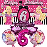 Barbie 6th Party Supplies | Decorations | Balloons | Sixth | Six | For Girls | Banner | Backdrop | Birthday | Set | Decor