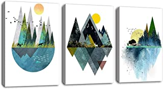 Wall Art for Living Room Sunset Canvas Prints Picture Bathroom Wall Decor Abstract Geometric Mountains Artwork Landscape Canvas Painting Deer Murals for Walls Bedroom Office 16x24Inchx3Pcs