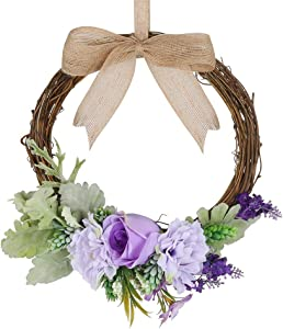 """HiiARug 10"""" Natural Garlands Front Door Wreaths, Artificial Rose Hanging Wreath with Ribbon for Home Party Indoor Outdoor Window Wall Wedding Party Decoration (10"""" Rose Purple)"""