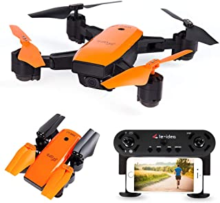 le-idea IDEA7 GPS RC Drone with 720P HD Camera Live Video, FPV Quadcopter with Auto Return Follow Me Mode, Map Location Foldable Helicopter for Adults Beginners Orange Color