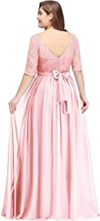 Misshow Women's Plus Size Lace Chiffon with Sleeves Elegant Long Prom Dress
