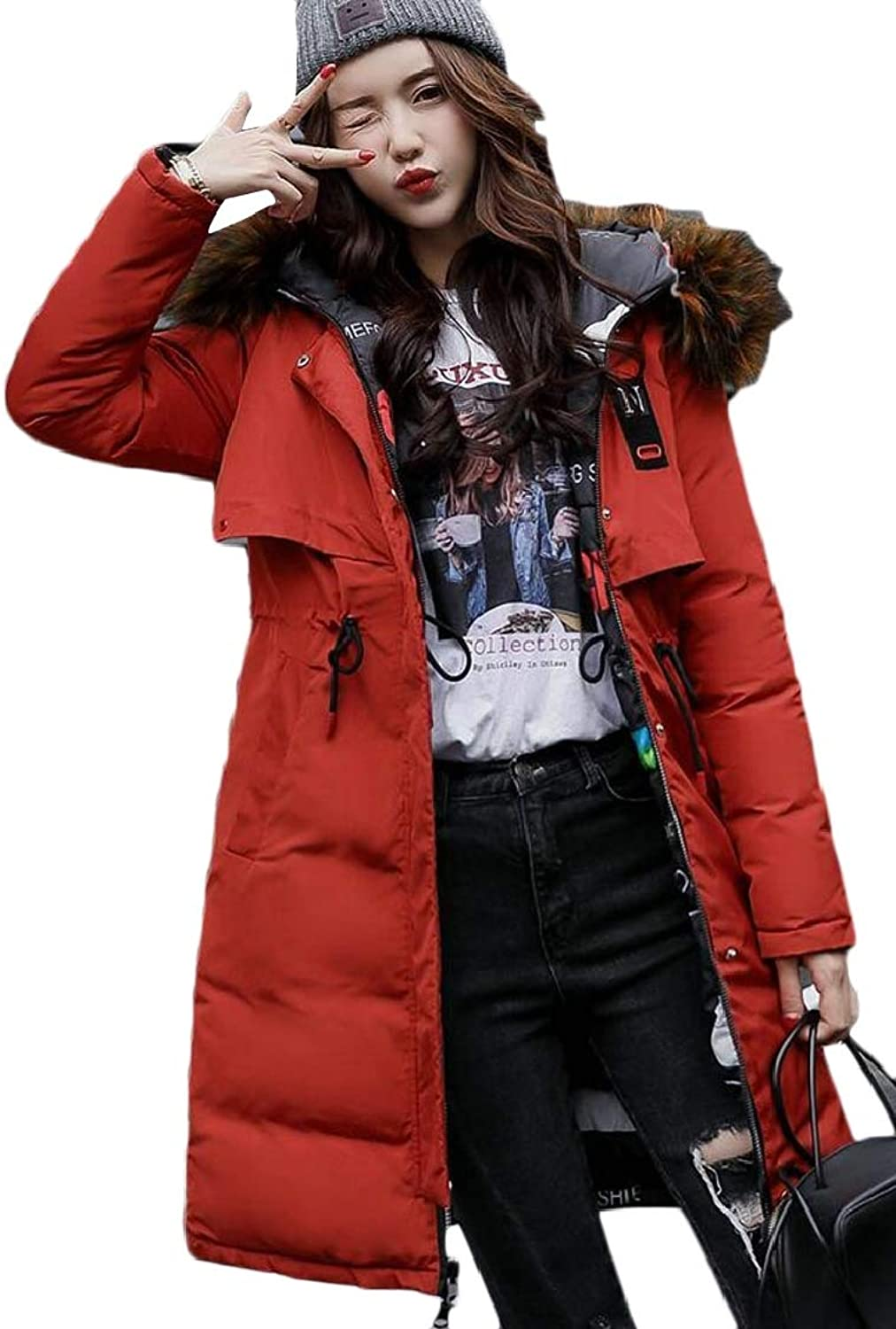 Jxfd Women's Winter Down Coat with Faux Fur Hooded Long Parka Quilted Jacket