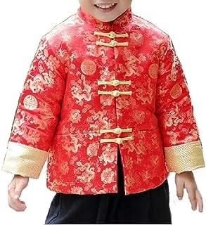 Hooyi Chinese - Traje de baño para niños, chaqueta tradicional roja CNY Outfit Drangon Tops Kids Hanfu Coat