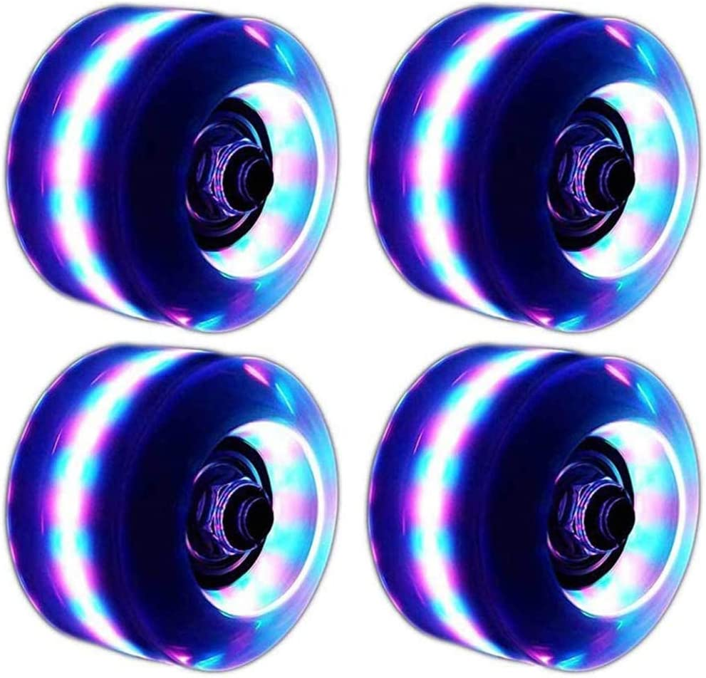 JTYX 4PCS Light Up Roller Skate Wheels Outdoor LED Quad Roller Skate Replace Wheels Luminous Skate Wheels Equipped with High Speed Bearings Suitable for Double-Row Pulleys and Skateboards