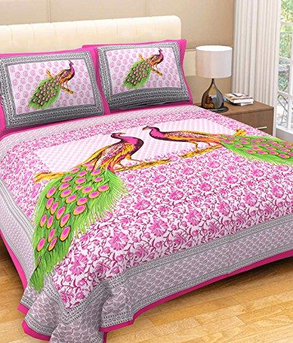 fecom King Size Pur Coton Couvre-lit Double Drap Housse de Matelas avec 2 taies d'oreiller Motif Traditionnel Rose