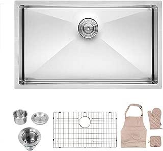 Lordear 32 Inch Undermount Deep Single Bowl 16 Gauge R10 Tight Radius Stainless Steel Kitchen Sink