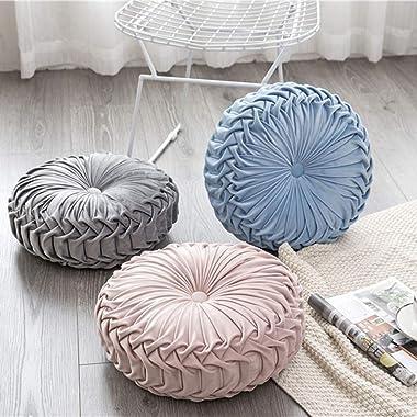 Sanhee Velvet Pleated Round Throw Pillows, 15 Inch Solid Color Pumpkin Cushion Pillows Home Decorative, Blue Plush Floor Pill