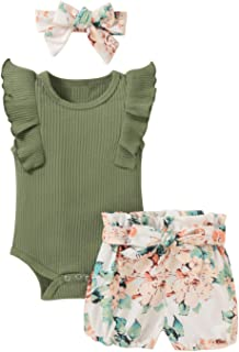 Newborn Baby Girl Clothes Sleeveless Romper+Floral Shorts + Headband 3Pcs Summer Outfit Set