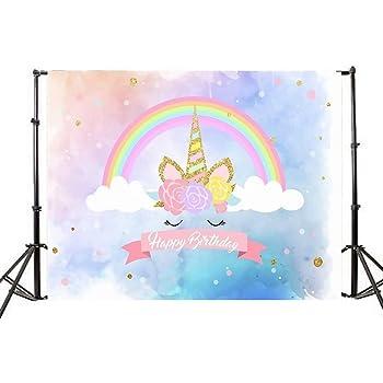 Mehofoto cumplea/ños Unicornio Flor tel/ón de Fondo 7x5ft Vinilo Arco Iris Unicornio ni/ños decoraci/ón del Partido telones de Fondo de la Foto Bandera incons/útil fotograf/ía Fondo