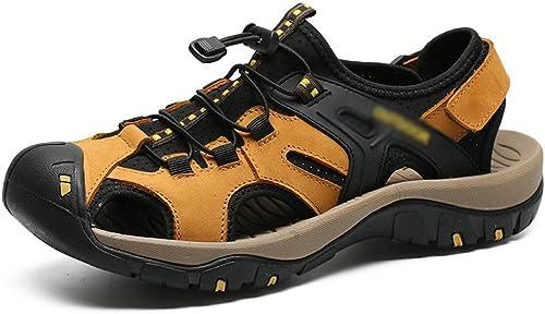 Shengjuanfeng Herren Casual Outdoor Strand Schuhe Leder rutschfeste Turnschuhe Herren Sandalen (Farbe   Gelb braun, Größe   41)