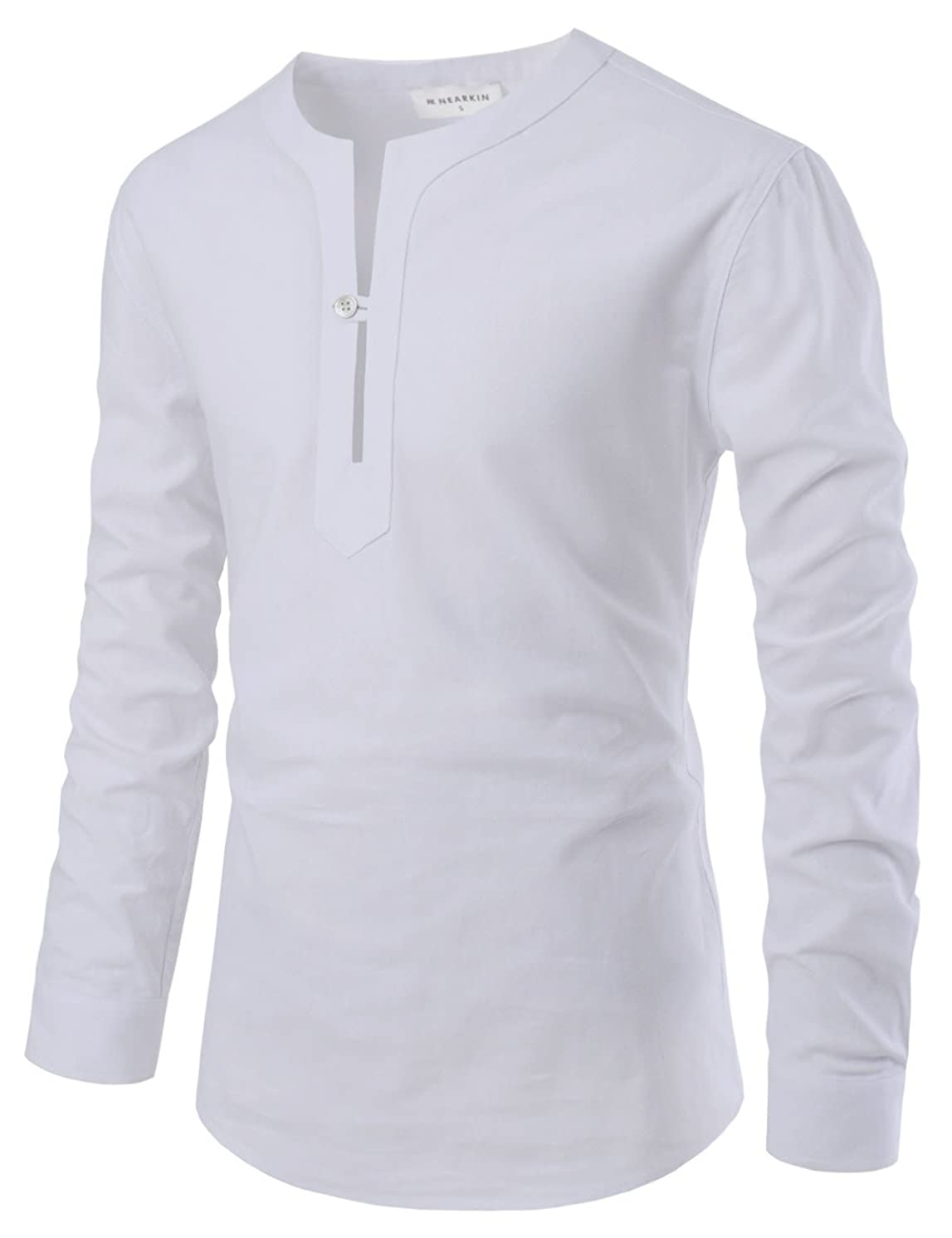 NEARKIN Mens Mandarin Collar Long Sleeve Button Down Cotton Shirts