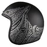 Voss 501 Bobber Open Face Retro Helmet Low Profile Lightweight - Matte Black/Silver Aurora - S