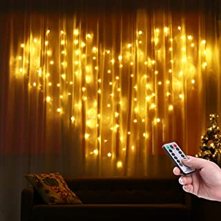 Lyhope Heart Shape Curtain Lights,124 LED 8 Modes Twinkle String Lights with UL Adapter Christmas Decorative Lights for Bedroom, Wedding, Valentine, Wall Backdrop (Warm White)