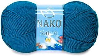 Nako Saten Deep Blue Green No.10328 Crochet and Knitting Yarn