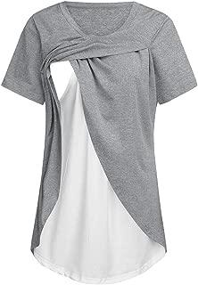 Huhu833 Damen Still-Shirt//Umstandstop Frauen Kurzarm Oansatz Einfarbig Schwangerschaft T-Shirt Mutterschaft Stillen Nursing Tops Bluse Lagendesign Wickeln Schicht