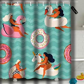txregxy Shower Curtain Bath Curtain Flamingo Unicorn Swan and Sweet Donut Inflatable Swimming Pool Floats Decorative Modern Bathroom Accessories 72 by 487 Inches 72