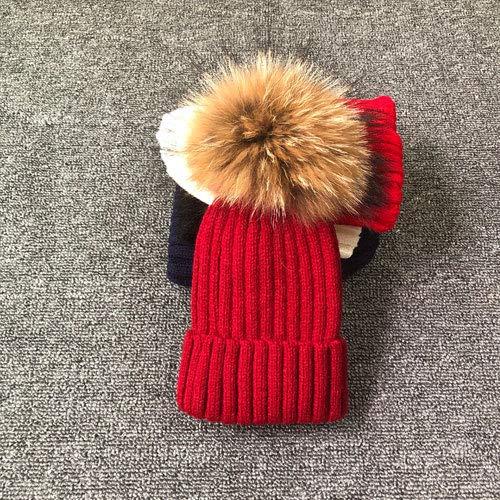 Sombrero de Invierno con Pompones para Mujer, Sombrero de Invierno para Mujer, Gorro de niña, Gorros Tejidos, Gorro, Gorros Gruesos para Mujer-Wine Red with Fur-Adult Size