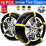 BiBOSS Snow Chains 10 Pcs Anti Slip Tire Chains Adjustable Security Emergency Car Tire Chains Fit for Most Car...