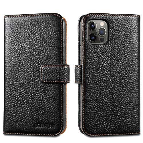 LENSUN Coque iPhone 12, Coque iPhone 12 Pro Housse étui Cuir Véritable Portefeuille avec Rangements de Cartes et Fermeture Aimanté, pour Apple iPhone 12/iPhone 12 Pro - Noir(12P-LG-BK)