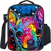 SARA NELL Lunch Tote Insulated Thermal Lunch Bag Cute Colorful Chihuahua Face Lunch Backpack Lunch Box Carry Case for Adults Kids Nurse Teacher Work Outdoor Travel Picnic
