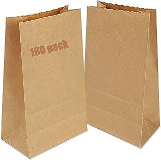 100 Piezas Bolsas Papel Kraft 9x5.5x17cm Bolsas Regalo,Bolsas Papel Pequeñas sin Asas para Chuches Bocadillos Ban Almuerzo...