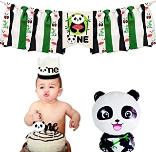 Panda Party Supplies and Decorations, First Birthday Decorations, 1 High Chair Banner, 1 Cake Topper, 1 Birthday Hat, Birt...