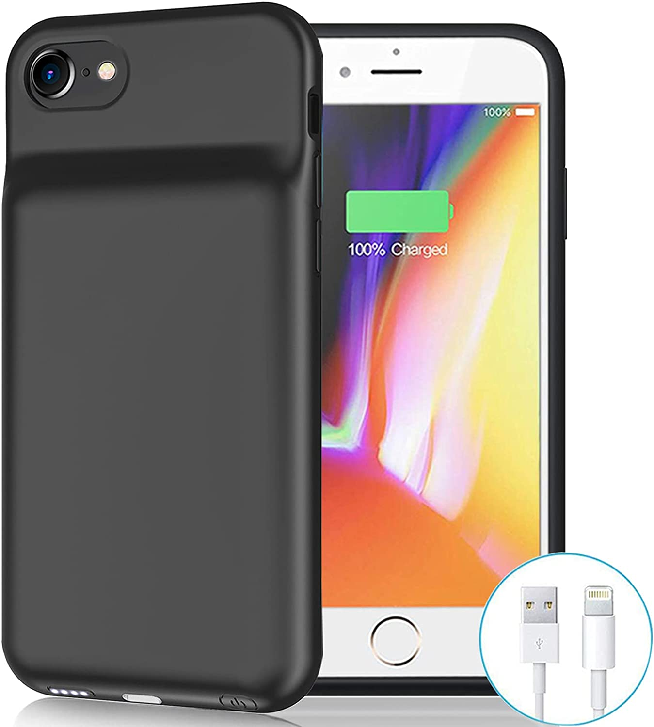 Battery Case for iPhone 6/6s/7/8/SE 2020(2nd Generation), 6500mAh Portable Rechargeable Charging Case for iPhone 6/6s/7/8/ SE 2020(2nd Generation) (4.7 inch) Extended Battery Charger Case (Black)