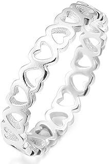 MunkiMix 925 Sterling Silver Anello Anelli Tono Argento Cuore Matrimonio Amore Donna