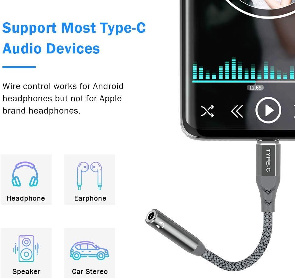 Adaptador USB C a conector jack de 3,5 mm de tipo C a jack de audio compatible con Samsung Galaxy S20 Note 20 Ultra Huawei P40 P30 Pro OnePlus Nord 8 Pro color gris TITACUTE