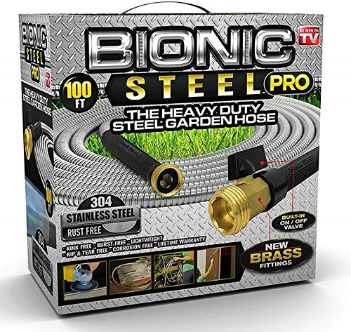 Bionic Steel PRO Garden Hose - 304 Stainless Steel Metal 100 Foot Garden Hose  Heavy Duty Lightweight, Kink-Free, and Stronger Than Ever with Brass Fittings and On/Off Valve  2019 Model