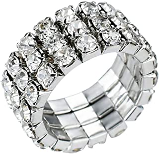 New Sparkling 3 Row Rhinestone Stretch Ring