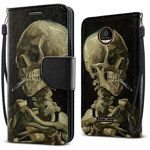 FINCIBO Case Compatible with Motorola Moto Z FORCE 2016 Droid Edition, Fashionable Flap Pouch Cover Case + Card Holder Kickstand For Moto Z FORCE (NOT FIT Moto Z) - Skeleton With Burning Cigarette