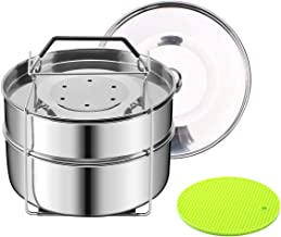 HapWay Stackable Steamer Insert Pans with Upgraded Silicon Handle Sling and Insulation Mat - Compatible with 5/6/8 qt Inst...