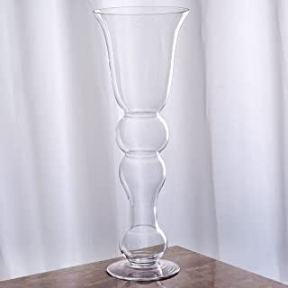 """BalsaCircle 4 pcs 20"""" Tall Clear Glass Curvy Trumpet Vases for Wedding Party Flowers Centerpieces Decorations Bulk Supplies"""