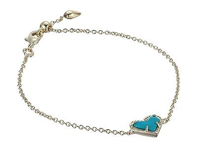 Kendra Scott Ari Heart Delicate Chain Bracelet (Gold Turquoise Magnesite) Bracelet