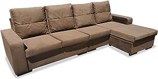 Muebles Baratos Sofa Chaise Longue Cuatro Plazas, Subida A Domicilio, Color Marron, 280 cms, ref-24
