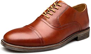 PengCheng Pang Dress Oxford for Men Wedding Shoes Lace up Genuine Leather Round Toe TPR Sole Three Joints Stitching Solid Color Non-Slip (Color : Red, Size : 7.5 UK)