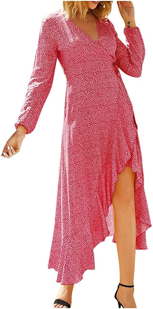 KINGOLDON Women Fashion O-Neck Sexy Floral Print Dress Slim Irregular Long Sleeve Dress