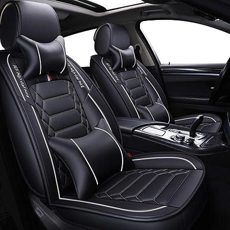 Autositzbezüge Leder Set 5 Sitzer Auto Universal Leder Motion Voller Satz Von Vier Jahreszeiten Pad Kompatibel Mit Airbag Kissen Farbe Gray Auto