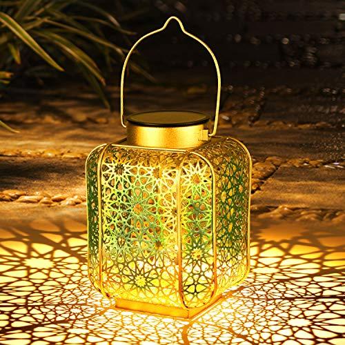 Farol Solar Exterior, Orelpo Luz Solar Exterior Jardin IP44 Impermeable, Lampara LED Solar Vintage para Decoracion Jardin, Patio, Terraza, Césped, Arboles, Fiesta, Navidad