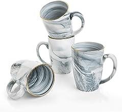 Hoomeet Marble Ceramic Coffee Mugs, Set of 4 (16 oz- Grey)