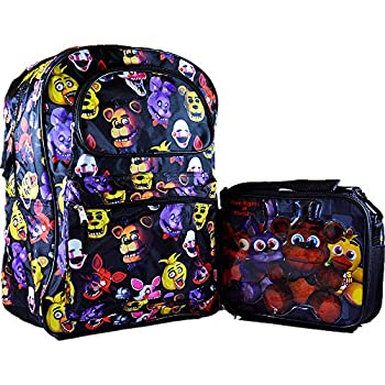 """Five Nights At Freddy's All-Over Print 17"""" XL School Backpack with Insulated Lunch Bag 