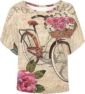Women Short Sleeve Tops Vintage Roses Flowers Elegant Blouse