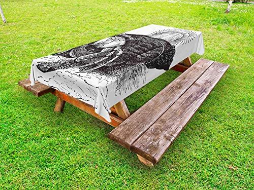 ABAKUHAUS kreeftklu Tafelkleed voor Buitengebruik, Potlood Getrokken Zee Krab, Decoratief Wasbaar Tafelkleed voor Picknicktafel, 58 x 84 cm, Charcoal Grey White