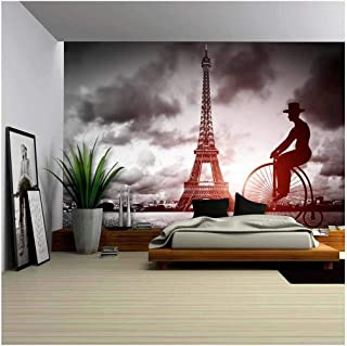 wall26 - Man on Retro Bicycle Next to Eiffel Tower, Paris, France - Removable Wall Mural | Self-Adhesive Large Wallpaper - 66x96 inches