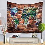 GenericBrands Mapa del Mundo de la Acuarela Decoración del Dormitorio de Tela Mapa del Mundo Azul Decoración del hogar para el Dormitorio Sala de Estar Tapices de Pared