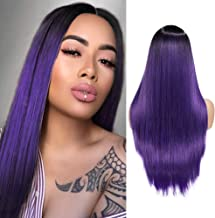 WIGER Ombre Wig Long Straight Purple Hair Wigs 2 Tones Dark Roots to Purple Middle Part Natural Heat Resistant Synthetic Fiber Party Cosplay Full Wigs for Women Girls