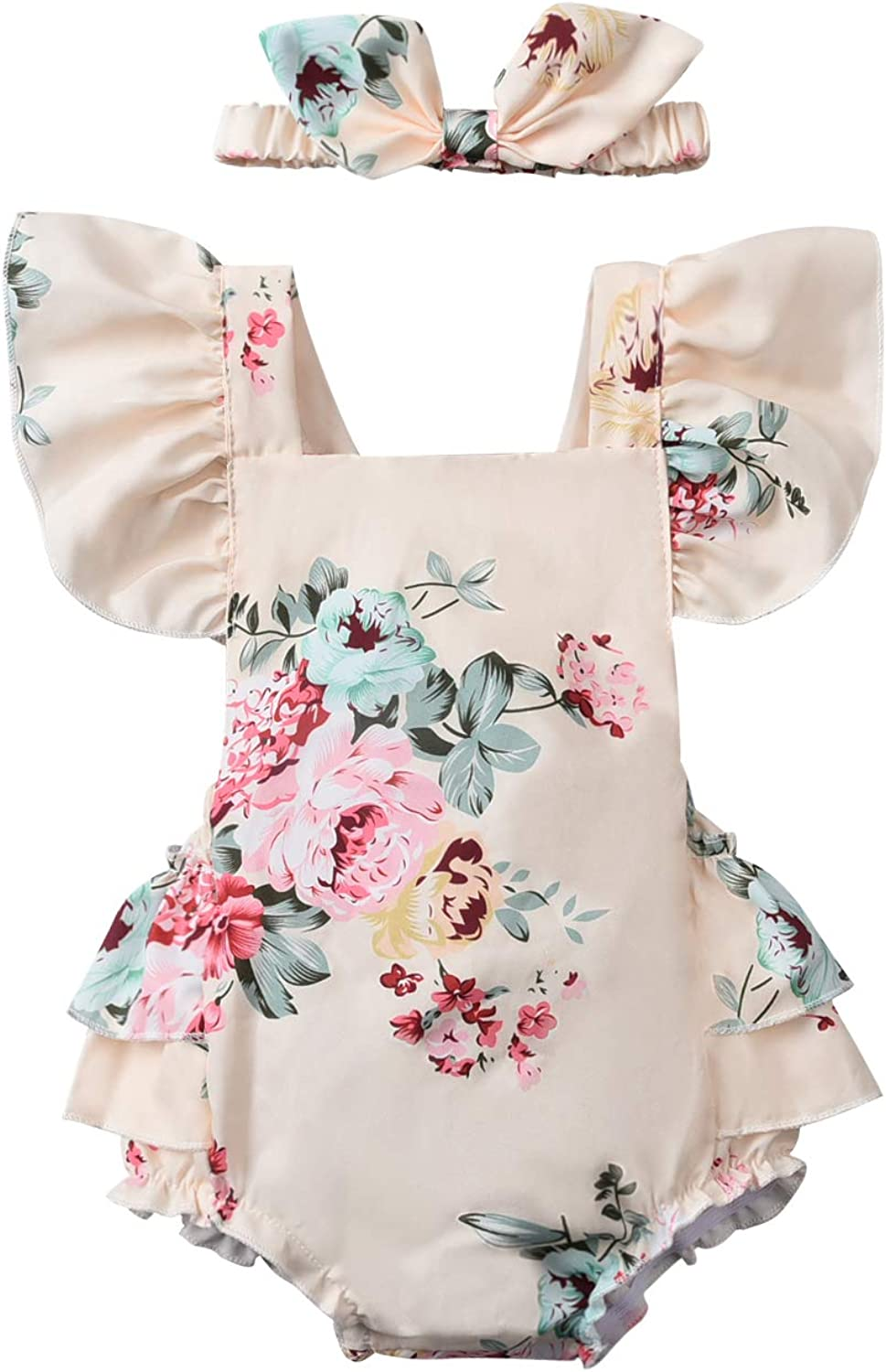 Baby Girl Floral Romper Outfit Bodysuit Ruffle Infant Ju Vintage Popular products Mesa Mall