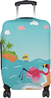 ALAZA Rolling Luggage Cover Flamingo Love Summer Beach Travel Case Suitcase Bag Protector Boy Girl 18-32 Inch